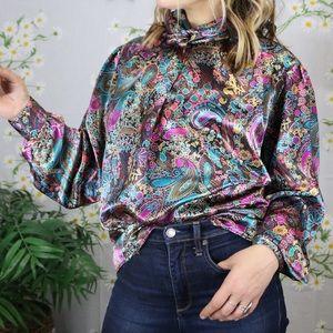 Vintage metallic paisley jewel tone blouse